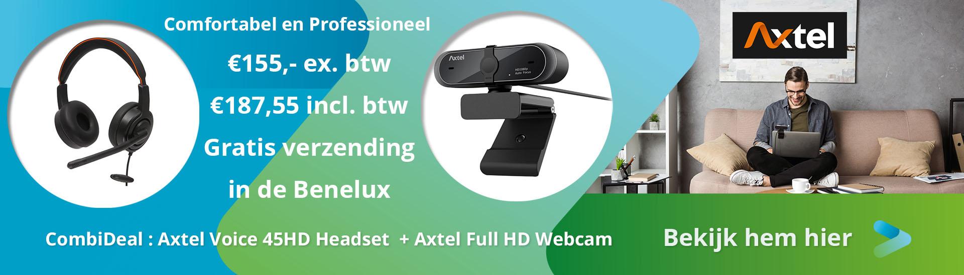 Axtel Combodeal Voice 45 HD Headset en Full HD 1080P Webcam