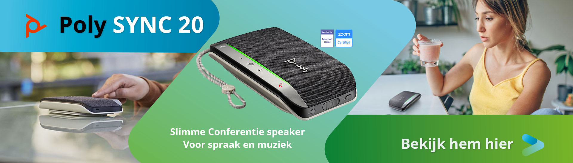 Poly Sync 20 Slimme conferentie speaker voor spraak en geluid.